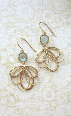 Aqua Blue Gold Feather Earrings. Aqua Blue Glass