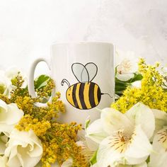 Personalised ceramic bee illustration mug – And so to Shop Bee Illustration, Bee Design, Personalized Mugs, New Home Gifts, Order Prints, Fig, Hand Lettering, Gifts For Women, Nottingham