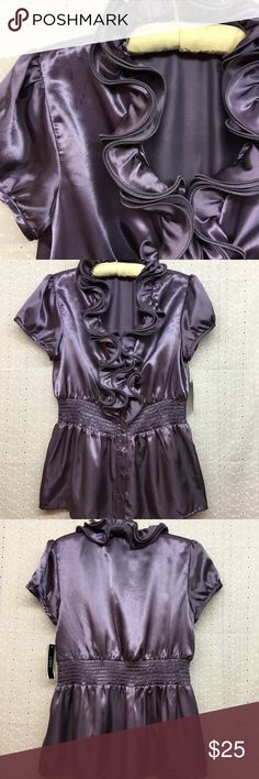 """A. Byer ruffled short sleeve top A. Byer ruffled short sleeve button front top. NWT. No flaws. Size L. Armpit to armpit 19"""". Shoulder to bottom hem 25"""". A. Byer Tops"""