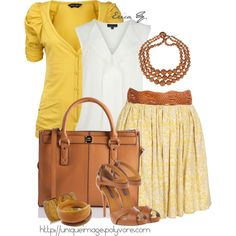 Yellow & Tan, created by uniqueimage on Polyvore