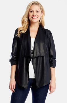 Karen Kane Shirred Sleeve Faux Leather Jacket (Plus Size) available at #Nordstrom