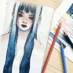 watercolour x coloured pencil