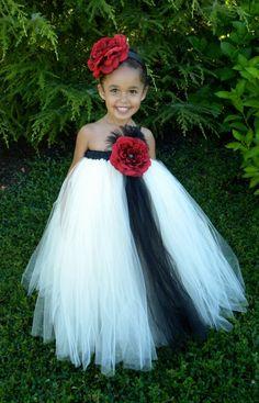 Tutu Flower Girl Dresses | Flower Girl Tutu Dress - Ivory & Black - Evening Elegance - 7-8 Youth ...