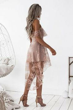 A-Line Off-the-Shoulder High Low Blush Sleeveless Lace Homecoming Dress