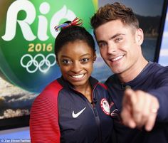 Surprise! Efron also shared pics of himself with Biles on his own Instagram | Simone Biles and Zack Efron #gymnastics #gymnast