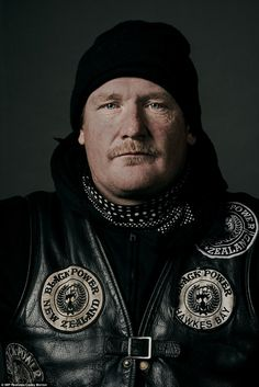 They are one of New Zealand's most infamous gangs, and now Sydney photographer Casey Morton has pried open a window into the lives of the Black Power gang members. Biker Clubs, Motorcycle Clubs, Red Vs Blue, Hells Angels, Black Power, First World, New Zealand, Photo S, Portrait