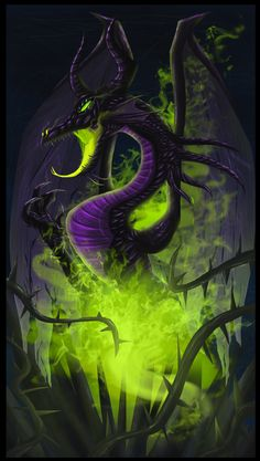 Obviously Maleficent from Sleeping Beauty, but dragons could be a huge part of Uldrid. If green is the color of evil, than Loki must be evil. Disney Pixar, Walt Disney, Disney Fan Art, Disney Villains, Disney And Dreamworks, Disney Magic, Disney Movies, Maleficent Art, Maleficent Dragon