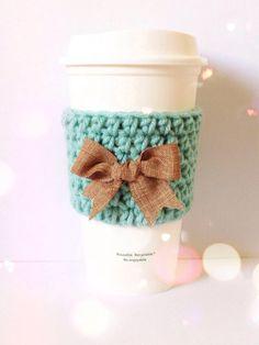 Crochet Coffee Cozy in Teal with Burlap Bow by Faith's Yarn Works Instagram @faithsyarnworks