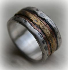 mens wedding band  rustic fine silver rose and by MaggiDesigns, $1865.00