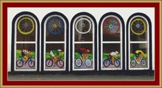Cycling Windows Cross Stitch Pattern