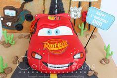 McQueen Car cake with custom backdrop