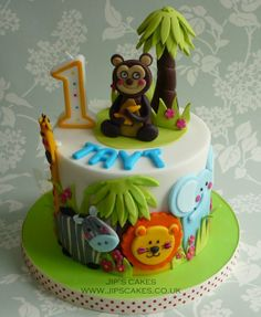Sharp Edge - Animal Theme Cake - via Jungle Birthday Cakes, Jungle Theme Cakes, Animal Birthday Cakes, Safari Cakes, Birthday Cake Pictures, Animal Cakes, First Birthday Cakes, Birthday Ideas, Zoo Cake