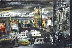 John Piper, Norwich Market, Norfolk, watercolour and gouache on paper.