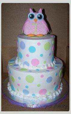 Owl 1st Birthday Cake-like the pastel polka dots!