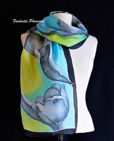 Silk scarf hand painted black gray and white by FantasticPheasant