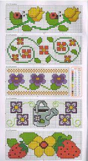 Gráficos de ponto cruz: Barradinho flores Cross Stitch Borders, C2c, Kids Rugs, Cross Stitch Flowers, Cross Stitch Fruit, Mini Cross Stitch, Cross Stitch Rose, Embroidery Ideas, Crochet Art