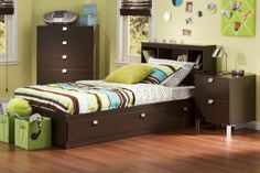3-Piece CakaoChocolate Kids Bedroom Furniture Sets with Bookcase Headboard, Twin by South Shore