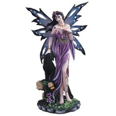 Purple Fairy with Panther Statue - 05-91513 by Medieval Collectibles