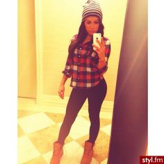 Plaid shirt and black leggings paired with a beanie and booties. Would wear a longer shirt though