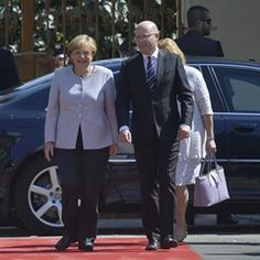 German Chancellor Angela Merkel arrives in Prague to discuss stratergies with Czech Republic