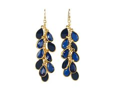 Kate Spade New York Petal Pusher Linear Earrings Navy - Zappos Couture