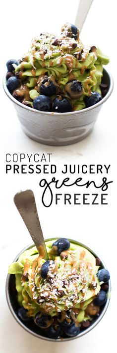 This homemade Pressed Juicery Freeze recipe recreates the trendy ice cream treat with nothing but fruits, veggies, and a blender—just add toppings!