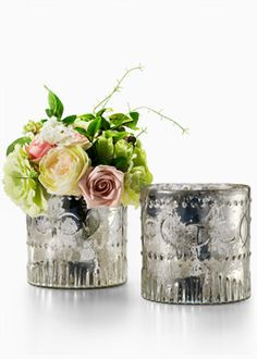 I love Mercury Glass  /  JamaliGarden.com has amazing things! Vases, Floral Supplies, Holiday items, and more!