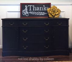 Excited to share the latest addition to my #etsy shop: Black buffet / sideboard #furniture #chalkpainted #vintage #bowedfront #sideboard #buffet