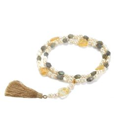 White pearls, with facet-cut labradorite beads and citrine coins and a beautiful, detachable silken tassel. £49.95 Beaded Tassel Necklace, Ball Necklace, Knot Necklace, Long Pearl Necklaces, Freshwater Pearl Necklaces, Handmade Beaded Jewelry, Handmade Bracelets, Labradorite Jewelry, Cultured Pearls