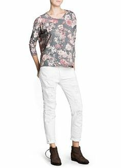 MANGO - CLOTHING - Tops - Floral print loose-fit t-shirt