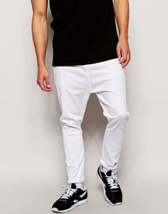 Get this Asos's slim jeans now! Click for more details. Worldwide shipping. ASOS Drop Crotch Jeans In White - White: Jeans by ASOS, Stretch denim, White wash, Regular rise, Zip fly, Dropped crotch, Skinny fit - cut closely to the body, Machine wash, 98% Cotton, 2% Elastane, Our model wears a 81cm/32 regular and is 185.5cm/6'1 tall.  (vaquero slim, stretch, fit, ajustado, tapered, estrechos, ajustados, jeans slim fit, jeans slim, jean slim, jeans slim)