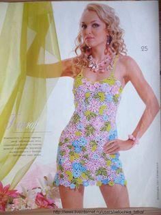 TRICO y CROCHET-madona-mía: Vestidos para mujeres a Crochet Ruso con paso a paso en fotografia