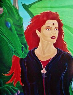 """""""Where Dragons Fly"""" by Angela K. Scott. ~Painting, Acrylics. Inspired by author Anne McCaffrey's Dragons of Pern books/series! ---- Art, Artwork, Inspired By Novel, Based On Books, Author Anne McCaffrey, Fantasy, Dragon, Dragons of Pern, Green Winged Dragon, Red Haired Woman, People, Mythological Creature, Myth, Mythical, Magical, Mystic, Beast, Companions, Bonded, Female, Nobility, Beauty, Strength, Medieval, Middle Ages, Legend, Folklore, Realistic, Realism."""