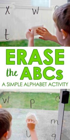 Erase the ABCs: Easy Alphabet Activity that toddlers and preschoolers will love; quick and easy activity; home school activity Erase the ABCs: Easy Alphabet Activity that toddlers and preschoolers will love; quick and easy activity; home school activity Toddler Learning Activities, Preschool Learning Activities, Preschool At Home, Toddler Preschool, Fun Learning, Preschool Alphabet Activities, Educational Activities, Family Activities, Easel Activities