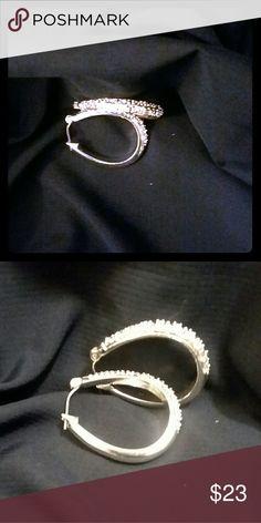 """Liz Claiborne Silver oval hooped earrings Liz Claiborne 925 silver earrings are approximately 2"""" in length. Liz Claiborne Jewelry Earrings"""