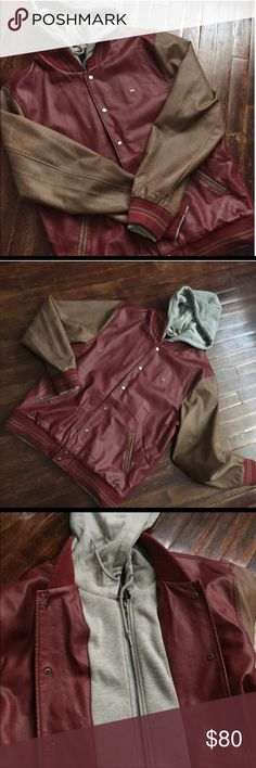 Obey faux leather hoodie XXL faux leather varsity Jacket by Obey in great condition. Color blocked sleeves and collar. Striped rib sleeve cuffs and waistband. Obey Jackets & Coats