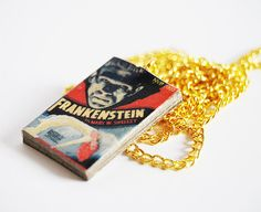 Frankenstein's mini book necklace by Bunnyhell