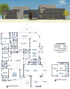 Luxury Modern Courtyard House Plan | 61custom