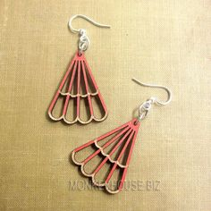 TRIANGLE Green Tree Jewelry CRIMSON laser-cut wooden earrings USA 132 BLOSSOMS #GreenTreeJewelry #DropDangle