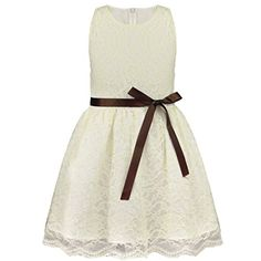 TIAOBU Girls Sleeveless Bow Belt Lace Princess Wedding Pageant Flower Party Dress Beige 612 Months *** Check out the image by visiting the link.