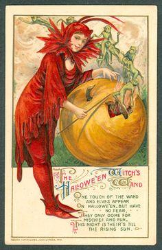 Winsch Halloween Postcard Witch In Red Wand Elves