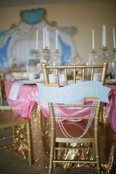 Dressed up chairs at a Cinderella birthday party! See more party ideas at CatchMyParty.com!