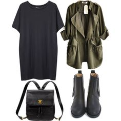 John Patrick oversized tee + chanel vintage leather backpack + army green drape collar long sleeve parka + acne pistol short boots black