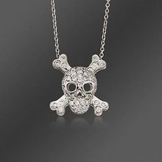 """Roberto Coin """"Tiny Treasures"""" .20 ct. t.w. Skull and Crossbones Pave Diamond Pendant Necklace In 18kt White Gold. 18"""""""