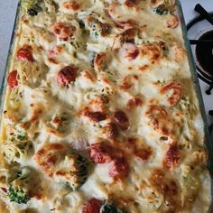 """Good recipes are the key to a happy family. If you are looking for good recipes """" Shrimp Alfredo Broccoli Bake """", here is the right place. Shrimp Casserole, Brunch Casserole, Casserole Recipes, Shrimp Recipes, Fish Recipes, Pasta Recipes, Baking Recipes, Recipes Dinner"""