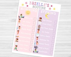 Toddler Girl Daily Routine Chart Checklist-Printable Morning & Bedtime Chart-Download Print-Pink and Purple Motivation for Wake Up and Sleep