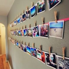 Picture wall for narrow hallway. by carole camera, printer that docks camera, photo paper, ribbon and clips for this picture wall idea Uni Room, College Room, College Life, Kids Room, Photowall Ideas, Diy Crafts For Teens, Kids Diy, 4 Kids, Diy Casa
