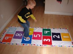 hopscotch mat…hot glue!!!