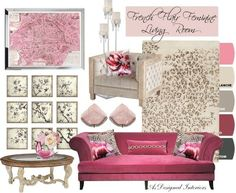 Moodboard: Leopard & Lilies — As Designed Interiors. A ultra feminine, French flair living room look. Pink and white with flowers and muted leopard.