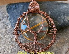 Energizante citrino luna llena collar pendiente del árbol de la vida, Reiki cargada y purificado, meditación, alambre envuelto, envío gratuito.